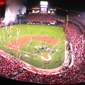 TLC at the ANGELS world series, firing thousands of streamers around the Angel Stadium